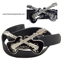 LEATHER ELECTRIC GUITAR  BELT WITH ENAMELED BUCKLE