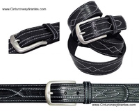 LEATHER MAN BELT WITH  CRAFT WORK STITCHING