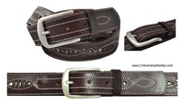 LEATHER MAN BELT WITH ROUGH AND CRAFT WORK STITCHING