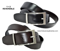 LEATHER REVERSIBLE BELT LARGE SIZES BLACK AND BROWN
