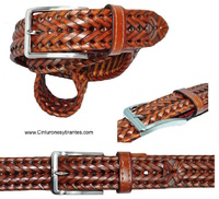 MAN'S BRAIDED BELT IN LEATHER SPIKE