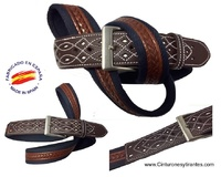MEN'S LEATHER AND CANVAS BELT WITH HANDCRAFTED POINTS