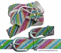 MULTICOLOR WOMEN GLITTER EFFECT BELT