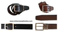 REVERSIBLE LEATHER BELT DUPLEX BACKSTITCHED MEN