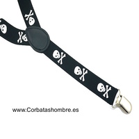 SUSPENDERS  WITH SKULLS FUNNY WITH CLIPPER IN SHAPE OF Y