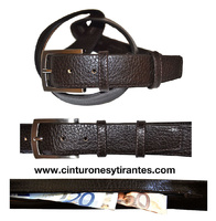TRAVEL BELT LEATHER INTERIOR WITH SECRET POCKET