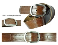 WOMAN BELT MADE WITH LEATHER TRIM STITCHING