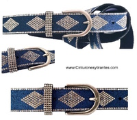 Woman belts with rhombuses of shiny stones